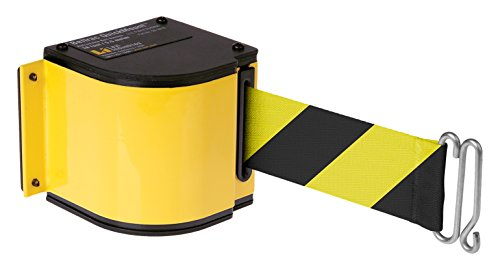 Quickmount, Adjustable Mount 18' Retractable Belt Safety Barrier, Yellow with Safety Hatch Belt