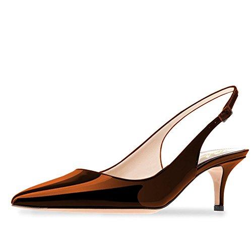 Lutalica Frauen Kitten Heel Spitze Patent Slingback Kleid Pumps Schuhe für Party Patent Braun Größe 46 EU