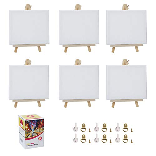 Stretched Canvas for Painting-8x10 Inch with Natural Wood Display Easel Kit& Traceless Wall Nails/6 Sets,100% Cotton,5/8 Inch Profile of Super Value Pack for Acrylics,Oils & Other Painting Media