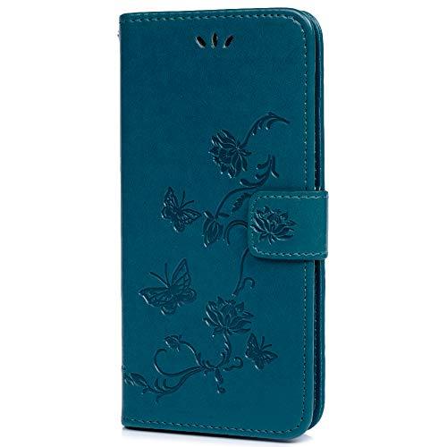 Funda para Nokia 1 Plus, piel sintética, con tapa, diseño de mariposa de loto en relieve, con ranuras para tarjetas de TPU a prueba de golpes, cierre magnético, función atril para Nokia 1 Plus 2019, azul