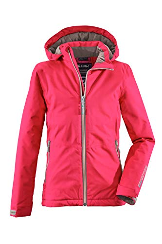 Killtec Veste d'extérieur pour fille Narissa Jr - Veste fonctionnelle avec capuche - Veste pour fille imperméable - Veste demi-saison avec colonne d'eau de 10 000 mm. XS rose bonbon