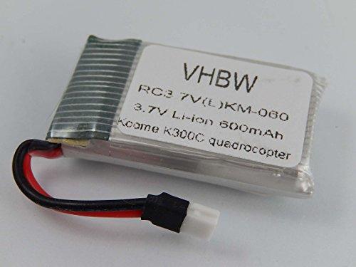 vhbw Li-Ion Akku 600mAh (3.7V) passend für Drohne, Multicopter Koome K300C Quadrocopter
