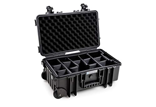 B&W Outdoor Case Hartschalenkoffer Typ 6600 mit Facheinteilung, anpassbar (Hardcase Koffer IP67, wasserdicht, Innenmaß 50x28,5x18,5cm, Schwarz)