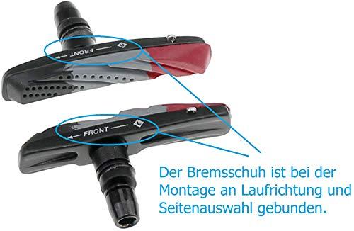P4B Cartridge Bremsschuhe für V-Brake, Belag 3-farbig im Air-Flow-Design, 2 Paar = 4 Stück, Gehäuse-Farbe = schwarz matt - 4