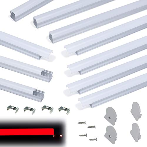 Muzata 10-Pack 6.6ft/2Meter 17x20mm U Shape Spotless LED Aluminum Channel System with 60° Curved Plexiglass Milky White Neon Effect Cover Diffuser, U108 2M WW,LN1