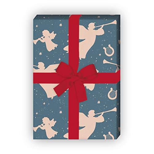 Grunge Retro kerstpapier met engelen en harpen, blauw, voor mooie cadeauverpakking voor het inpakken 32 x 48 cm, 4 vellen voor verjaardagen, bruiloft, kerstcadeaus, decoratief papier