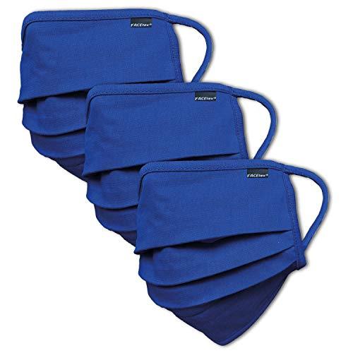 3er-Pack Abdeckung 100{a3eef33536af8bc257d5c9db03e4a4aa7c33a08e7a66098c82878b6a525a9c34} Bio-Baumwolle | waschbar bis 90°C, Bügeleisen-geeignet, Oeko-TEX 100 Standard | Einheitsgröße für Erwachsene | Wiederverwendbare Behelfs-Abdeckung für Mund Nase in blau