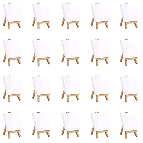 Belle Vous Mini Lienzos con Caballete de Madera (Pack de 20) Caballete Pequeño de 10 x 10 cm - Lienzos Preestirados, Imprimados en Blanco - De Mesa para Pinturas Óleo y Acrílico
