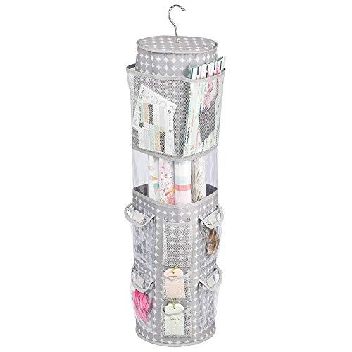 mDesign Hangende opbergbox voor geschenkverpakkingen – roterend inpakpapier opbergen met 13 kleine vakken en 1 groot vak voor inpakpapier rollen – ophangkast organizer – grijs