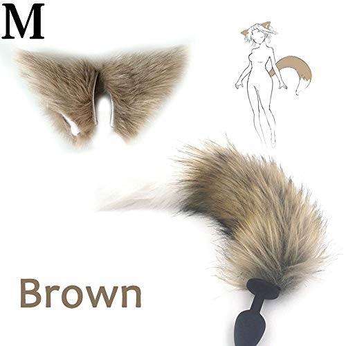 Sex Toys Adult Spelletjes for volwassenen Sex Producten En Dildo Vibrator Siliconen Plug Fox Tail Butt Lovely Oren A-n-a-l Sex Toy (Color : Brown M)