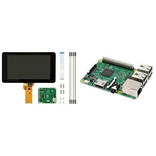 Raspberry Pi 2473872 Pantalla táctil V2, 8MP, 7 Pulgadas + Melopero 3 Model B, CPU Quad Core 1,2GHz Broadcom BCM2837 64bit, 1GB RAM, WiFi, Bluetooth BLE, Plata