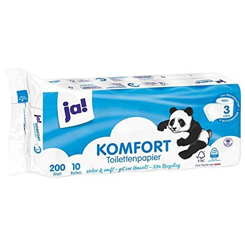 ja! Komfort Toilettenpapier, 3-lagig 10x200 Blatt 4 Pack = 40 Rollen