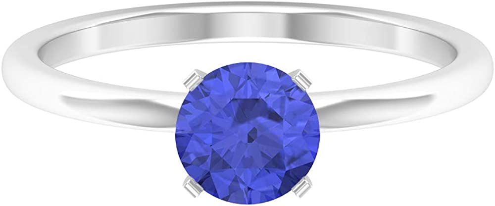 0.86 CT Tanzanite Solitaire Ring, Simple Engagement Ring, Solid Gold Wedding Ring, 14K Gold