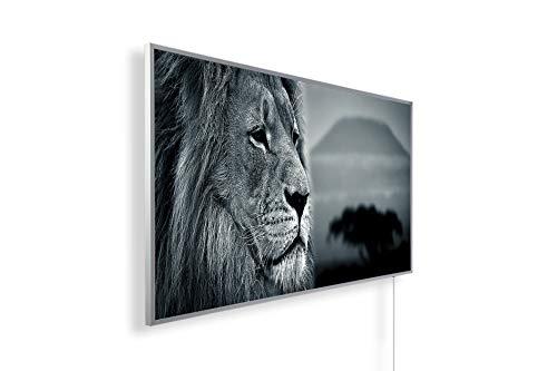 Könighaus Fern Infrarotheizung – Bildheizung in HD Qualität mit TÜV/GS - 200+ Bilder -800Watt - Patentiert -Weißer_Rahmen(063. Löwe im Sonnenuntergang) Black Edition