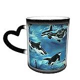 Oaieltj Tazas cambiantes de calor divertido océano asesino ballenas personalizadas sensible al calor cambiante mágico taza de café de cerámica taza de té de leche