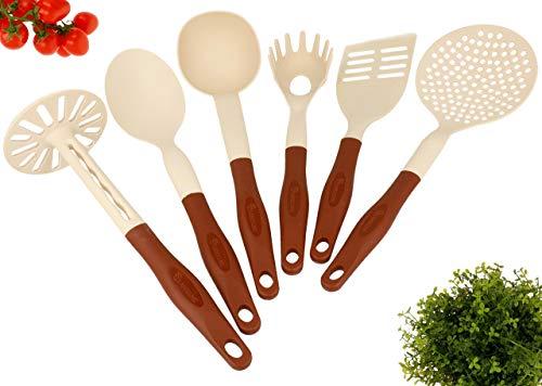 Lantelme Küchenhelferset Kochbesteck Braun Beige Set 6 Teilig Spülmaschinengeeignet Hitzeresistent 3734