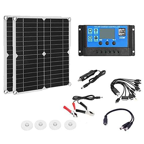 KELUNIS Kit De Panel Solar Flexible De 2 Piezas 300W - Puertos USB Duales Cargador Solar Monocristalino Fuera De La Red con Controlador Solar 100A para Cargador De Batería De Coche Yate RV