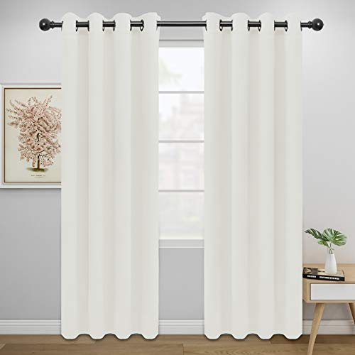 Easy-Going Blackout Curtains for Bedroom, Solid Thermal Insulated Grommet and Noise Reduction Window Drapes, Room Darkening Curtains for Living Room, 2 Panels(52x84 in,Ivory)