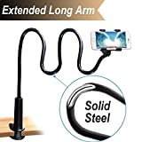 Cell Phone Clip On Stand Holder with Grip Flexible Long Arm Gooseneck Bracket Mount Clamp Compatible with iPhone X/8/7/6/6S Plus Samsung S8/S7, Used for Bed, Desktop, Black