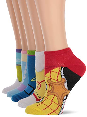 Toy Story Women's 5 Pack No Show, Light Color Character, Fits Sock Size 9-11 fits Shoe Size 4-10.5