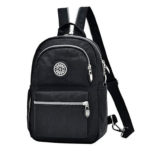 Fashion Backpack Waterproof Nylon Rucksack School College Bookbag Shoulder Purse (Black)(Size: S)