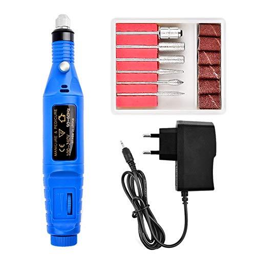 Cloverclover Perceuse Électrique Lime À Ongles Acrylique Fichier D'Art Manucure Pédicure Portable Machine Kit, Bleu