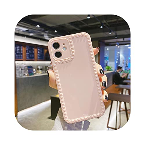 3D amor corazón marco teléfono caso para iPhone 11 Pro Max 12 Mini XS Max 7 8 Plus X XR XS Max SE 2020 Soild Color silicona cubierta trasera - rosa para iPhone SE 2020