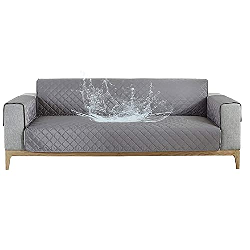 Funda De Sofa Acolchado Reversible, Impermeable Cubierta De Muebles Ajustable Funda para Sofá Antideslizante Fundas Sofa Lavable Apto Sala Mascotas-gris-3asiento