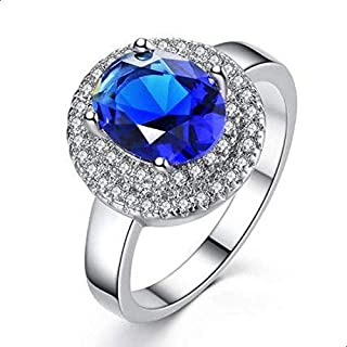 Women's Silver Ring inlaid with Blue Zircon size 9
