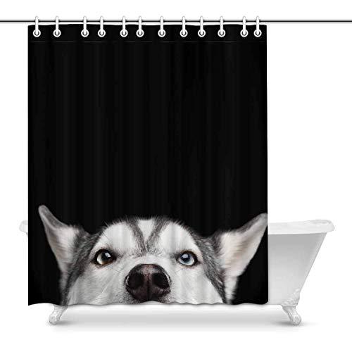 JOOCAR Design Duschvorhang, Close-up Head of Peeking Sibirian Husky Dog Funny Animals, Waterproof Cloth Fabric Bathroom Decor Set with Hooks