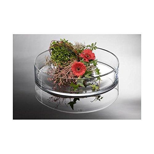 Glasschale, Dekoschale CORA,flach, rund, H 8 cm Ø 39cm, transparent, Sandra Rich