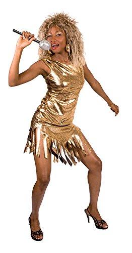 Aptafêtes–cs927263/M–Disfraz de Vestido Reina del Rock–Oro–Talla M