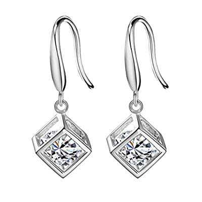 Topdo 1 Pair Lady Fashion Silver Color Shiny Rhinestone Cube Dangle Earrings Copper Luxury Teardrop Earrings