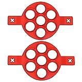 Moldes para panqueques de 2 partes molde de silicona antiadherente para tortillas, máquina para hacer huevos, molde para panqueques para muffins, 7 cavidades con formas redondas