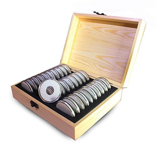 Caja De Almacenamiento De Monedas CÁPsulas Para Monedas(30Unidades) Para ColecciÓN De Monedas De 20/25/30/35/40MM Madera Maciza Marco AcrÍLico Redondo Para Monedas, Portamonedas Con Caja De Almacenam