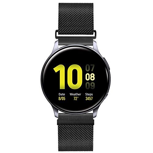 20mm Correa de Reloj de Malla Acero Inoxidable para Samsung Galaxy Watch 42mm/Active2 44mm 40mm /Gear Sport/Gear S2 Classic/Garmin Vivoactive 3, Correa Metal Deporte Bandas Repuesto (20mm, Negro)