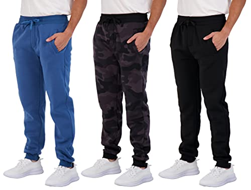 3 Pack Mens Joggers Tech Fleece Active Sports Athletic Training Soccer Track Gym Running Slim Fit Tapered Casual Jogger French Terry Quick Dry Fit Sweatpants Pockets Elastic Bottom- Set 8, 3XL