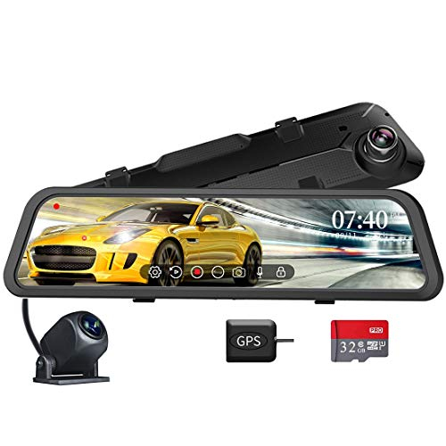 """WOLFBOX 12"""" Mirror Dash Cam for Cars with Full Touch Screen,1296P Rear View Mirror Camera, Sony Sensor,Dual Dash Camera,Parking Monitoring,LDWS, Loop Recording, Night Vision, Free 32GB Card & GPS"""