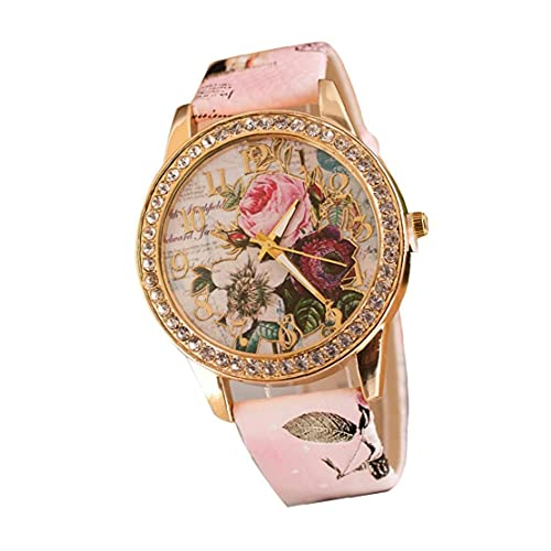 Mujeres analógico de Cuarzo Relojes Casual Cristal Marco clásico Relojes Piel Tipo Reloj - Rosa (batería incluida)
