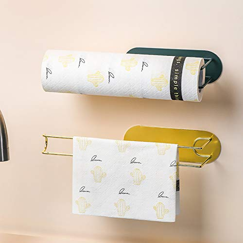 Portarollos de Cocina Portarrollos de Papel Higienico, Autoadhesivo, Estante Multifunción Portarrollos para Papel de Cocina, Sin Perforación,B