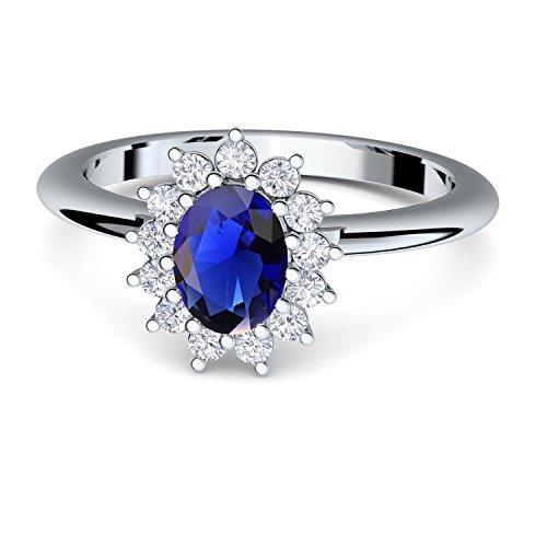 Verlobungsring blauer Stein wie Saphir von AMOONIC mit Zirkonia (wie Kate Middleton) + inklusive Gratis LUXUSETUI! Silber 925 wie Saphir Ring Silberring 925er FF587SS925SAFAZIFA52