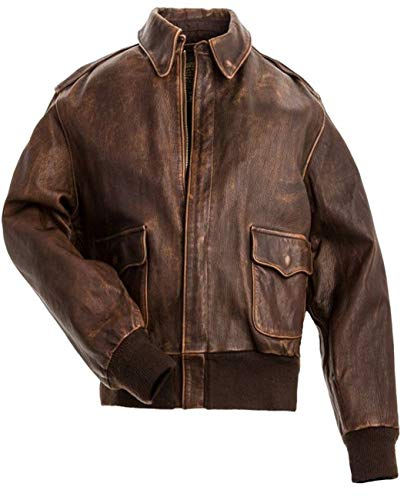 Leatherly Men's A2 Distressed Brown Leather Jacket-s