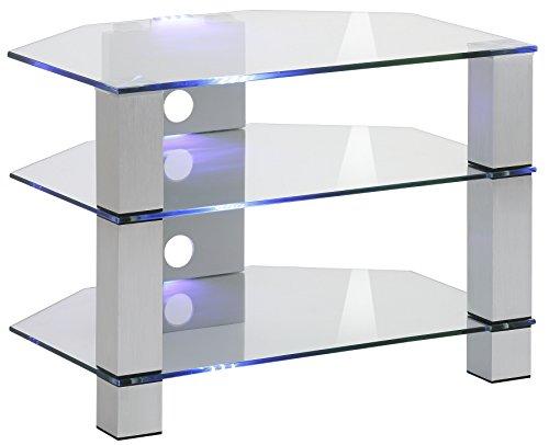 in Vetro 110,00 x 47,30 x 132,50 cm Maja M/öbel Mobile per TV Metallo Cromato e Vetro Bianco
