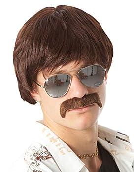 60s 70s Mens Costume Wig Short Brown Wigs + Mustache Sonny Hippie 60s Singer TV Star Cop Detective Costume