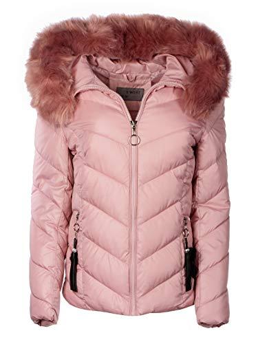 Trisens Damen Winter Jacke Parka Mantel Winterjacke Fell Kapuze, Farbe:Rosa, Größe:S