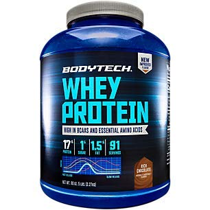 BodyTech Whey Protein Powder with 17 Grams of Protein per Serving Amino Acids Ideal for PostWorkout Muscle Building, Contains Milk Soy Rich Chocolate (5 Pound)