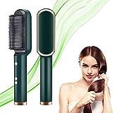 Escova de alisamento de cabelo profissional 2 em 1, penteadeira de cerâmica quente, aquecimento rápido 20 anos e 5 configurações de temperatura e anti-escaldadura,Green