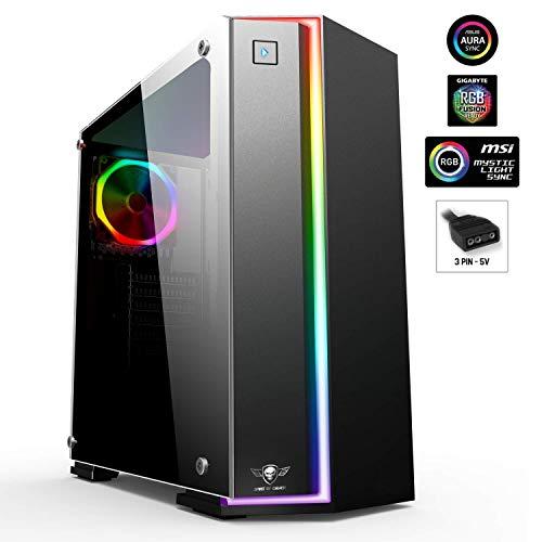 SPIRIT OF GAMER - Clone One - Tour ATX façade et ventilateur RGB Compatible Aura/Mystic/Fusion - Paroi latérale 100% Verre trempé - 10 modes de rétro-éclairage - 8 couleurs - 60 effets lumineux