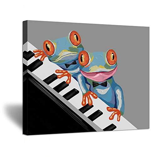 ZingArts Animal Canvas Wall Art Music Frog Play Piano Black and White Picture Cartoon Painting Giclee Printing on Canvas Stretched Frame Artwork for Kids Room Wall Decor 20x24inch