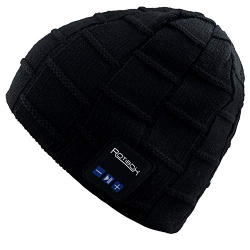 Mydeal Washable Winter Mens Womens Hat Bluetooth Beanie Running Cap with Wireless Stereo Headphones Mic Hands Free Rechargeable Battery Compatible with Cellphones iPhone Android Laptop Tablet - Black